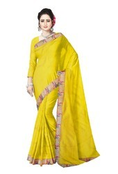 5fc889bf5a3da Sanjar Creation Yellow Pure Silk Cut Work Saree