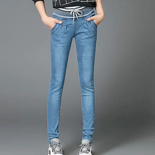1424f45bf2d Blue Regular Ladies Drawstring Jeans