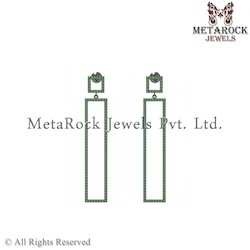 92.5 Silver Pave Diamond Chrome Gemstone Earring