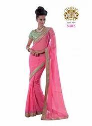 Pink Color Jacquard Saree