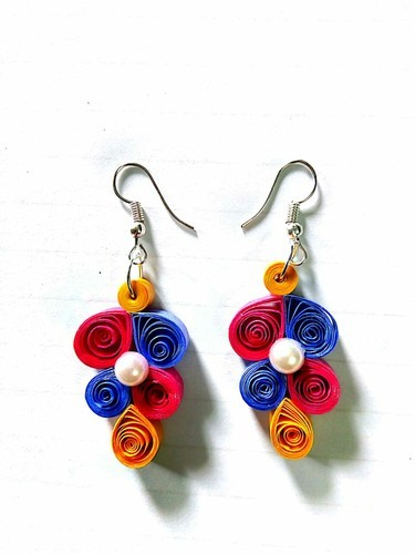 57e64df33 Girls Paper Quilled Earrings, Rs 80 /unit, Laher Creation | ID ...