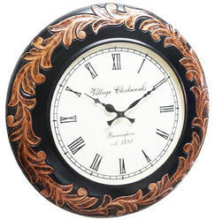 Black Wood Carving Wall Clocks