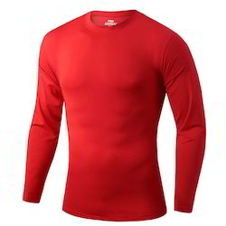 Cotton red Mens Full Sleeves T Shirt
