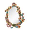 Flower Handcrafted Wooden Decorative Wall Mirror