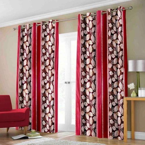 Trendy Maroon Printed Door Window Curtains