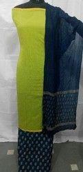 Block Printed Plain Chanderi Suit
