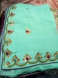 2d49754888 Sinon Crep Designer Hand Work Saree, Blouse Size: One Miter