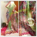 Digital Print On Silk Linen Saree