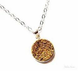 Druzy Bezel Set Silver Necklace