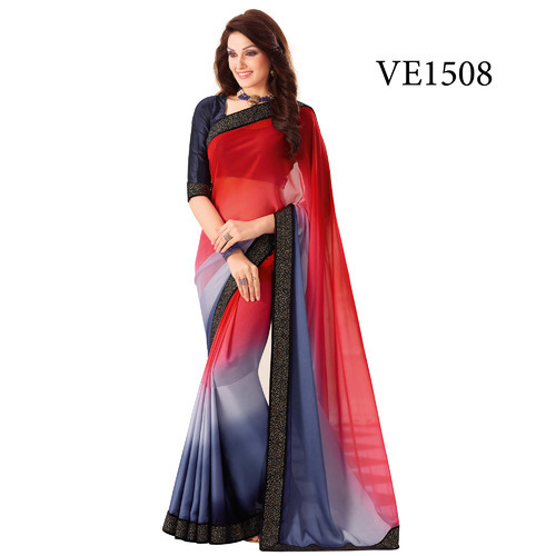 649e280c44 Georgette Plain Saree, Rs 1272 /piece, Surya Silks India Pvt Ltd ...