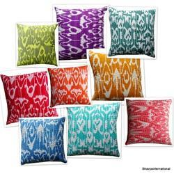 Cotton Kantha Cushion Cover Ikat Design