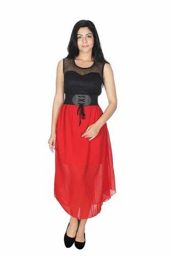 c35970757cfb Georgette Self Western Party Wear Red N Black Dress