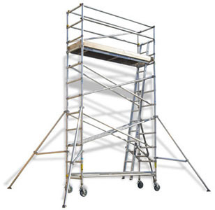 White Narrow Aluminum Scaffold Tower