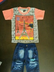 Hosiery Top With Denim Bottom Boys Baba Suit