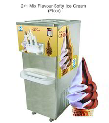 Twin Flavour Softy Ice Cream Machine Floor With Gravity Feed Valve