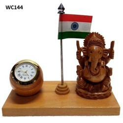 Ganesha Table Clock With Flag WC144