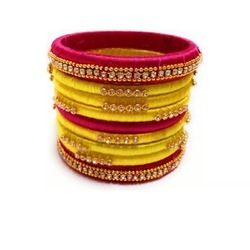 Yellow and Pink Silk Thread Bangle Set