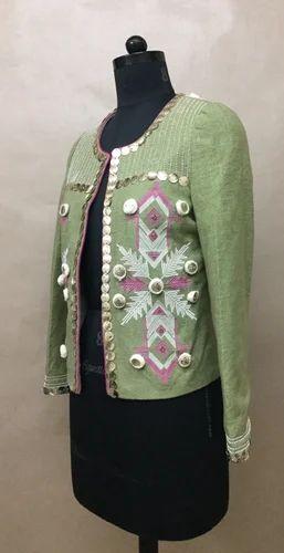 ebcc7e28 Women Cotton Sage Green Emb Pompom Jacket | ID: 10871084130