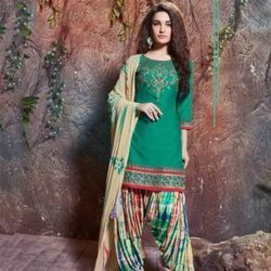 Cotton Bottle Green Color Palatial Punjabi Dress