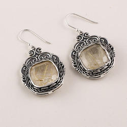 Golden Rotaiel Stone Earrings