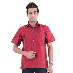 Red Plain Silk Shirt