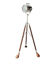 Vintage Searchlight On Brown Golf Stand Home Decor