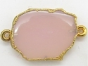 Pink Chalcedony Gold Electroplated Gemstone Slice Connector