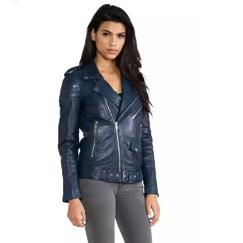 volume large top-rated cheap best choice Ladies Blue Leather Jacket