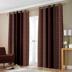 Jagdamba Brown Rich Look Coffee Printed Designer Door/ Window Curtain, Size: 7x4