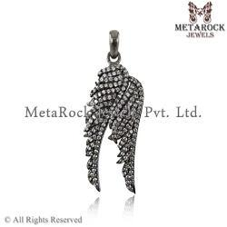 Diamond Vintage Feather Charm Pendant