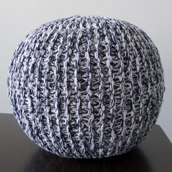 Cotton Charcoal Modern Designed Knitted Pouf