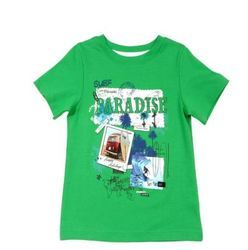 Kids Green Printed T Shirt