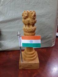Wooden Ashoka Pillar With Flag