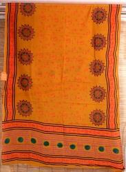 Orange Cotton, Silk Printed Stoles