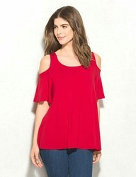 Red Cold Shoulder Tops