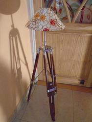 Designer Teak Wooden Nautical Floor Lamp - Shade Tripod
