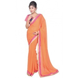 90a30e2f7bd35 Georgette Dual Border Orange Saree