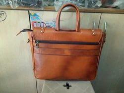 Brown Full Zip Leather Bag