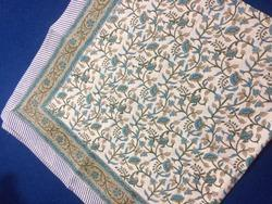 Turquoise Jaal Print Table Top- Block Prints Table Cover