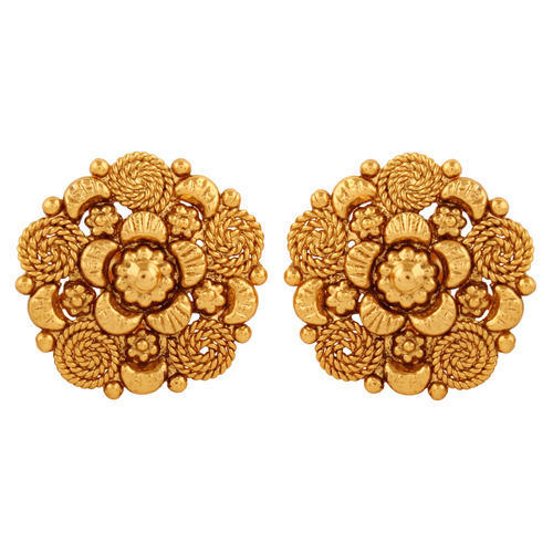 Copper Antique Rajwadi Stud Earrings
