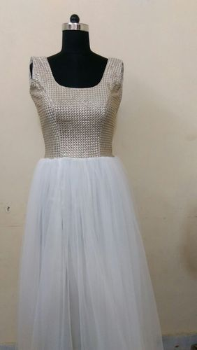 Medium net and self embroidery White Soft Net Gown With Self Print Upper Top