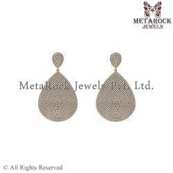 Micro Pave Diamond 14k Yellow Gold Earring