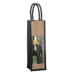 Transparent Single Bottle Jute Bag