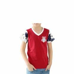 Cotton Casual Wear Kids V Neck T-Shirt