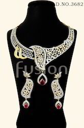 fusion Cubic Zircon Studded Necklace Set