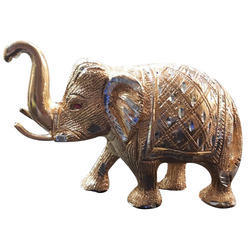 Golen & Silver White Metal Elephant, for Interior Decor, Size/dimension: Length : 5.5, Width : 7