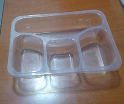 4 Compartment Food Packaging Tray, Size: 20 x 22 x 4.4 cm