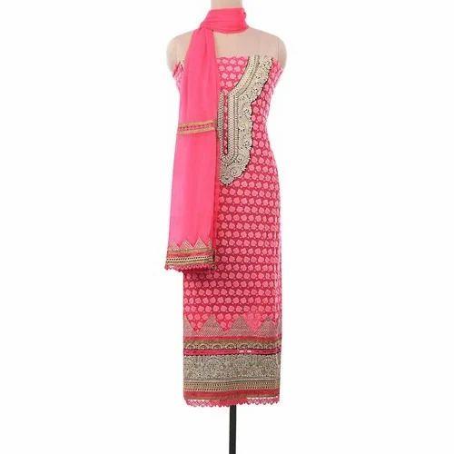 Party Wear Ladies Pink Fancy Unstitched Suit