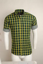 Green Checked Urban Design Casual Shirts