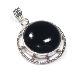 Black Onyx Sterling Silver Round Pendant